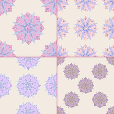 Set di quattro modelli senza soluzione di continuità con motivi ottomani. Priorità bassa mandala disegnata a mano. Archivio Fotografico - 61428381