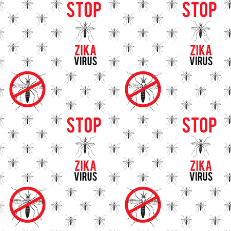 Seamless pattern with aedes mosquitos. Texture of insects.  Healthcare concept. Pattern warning about dangerous Zika virus. Black and red design elements on white background. Illustration