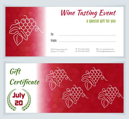 grapes in isolated: Wine tasting event Gift Certificate with grapes isolated on a white background. Flat and line style design.
