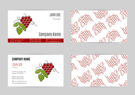 sommelier: Set of business cards with grapes.