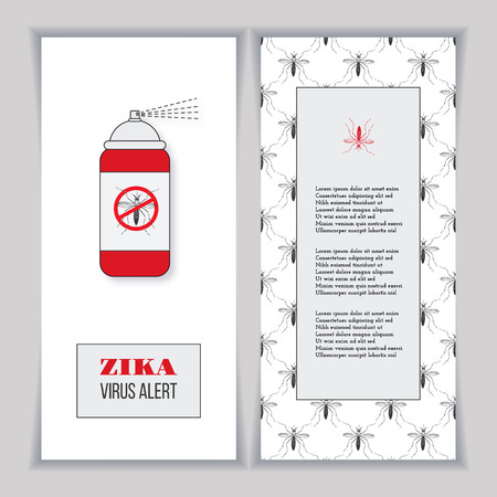 no mosquito: Set of vertical banners, posters or over mosquito pattern. Insect repellent canister with forbidden, no mosquito sign. Black and red design elements on a white background. Healthcare concept.