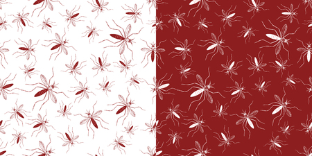 mosquitos: Set of seamless patterns with aegypti aedes mosquitos. Texture of  insects. Healthcare concept. Warning about dangerous Zika virus. Red and white design elements isolated on white and red background.