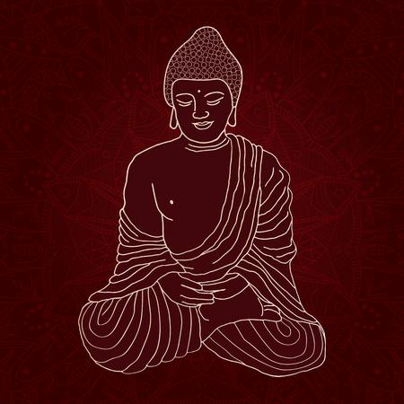 Silhouette of Buddha sitting in lotus position over ornamental round Mandala on dark background. Hand drawn illustration.