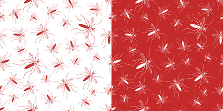Set of seamless patterns with aegypti aedes mosquitos. Texture of  insects. Healthcare concept. Warning about dangerous Zika virus. Red and white design elements isolated on white and red background.