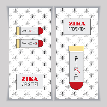 cdc: Blood samples for Zika virus with positive and negative test results. Set of vertical banners, posters or flyers over mosquito pattern. Healthcare concept. Isolated black, yellow, red design elements.