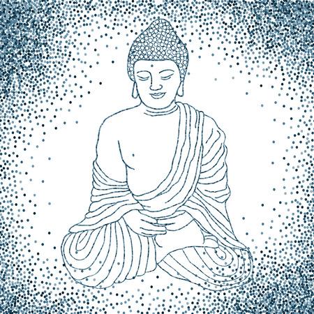 buddha lotus: Buddha in meditation, sitting in lotus position.