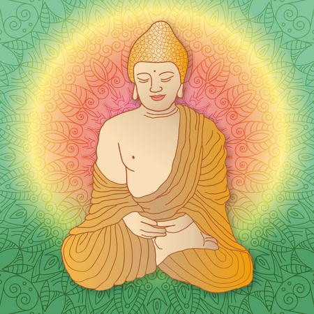 buddha lotus: Buddha sitting in lotus position over ornamental round Mandala background with bright sun. Illustration