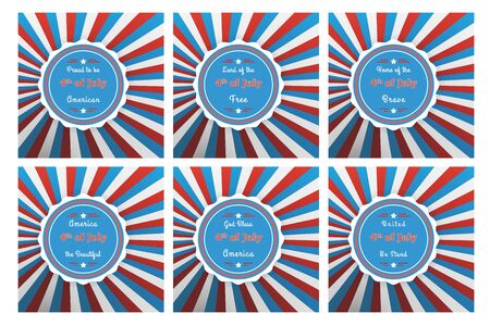 Set of six badges for Independence with different 4th of July slogans on colorful background in in the US national flag colors Illustration