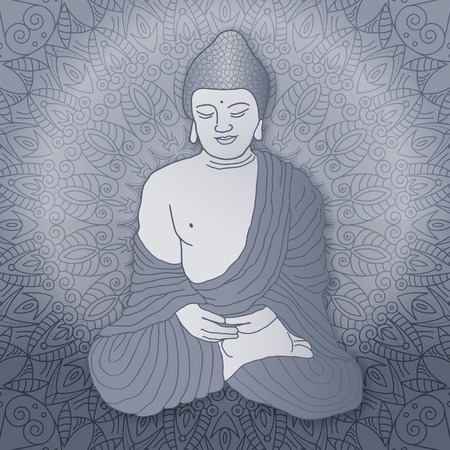 Buddha sitting in lotus position over ornamental round Mandala background with bright sun. Hand drawn illustration. Vettoriali