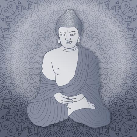 mantra: Buddha sitting in lotus position over ornamental round Mandala background with bright sun. Hand drawn illustration. Illustration