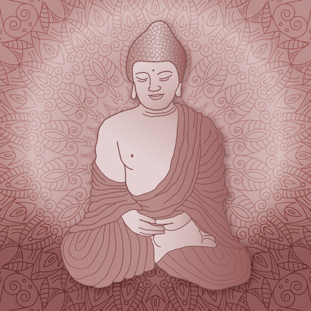 Buddha sitting in lotus position over ornamental round Mandala background with bright sun. Hand drawn illustration. Illustration
