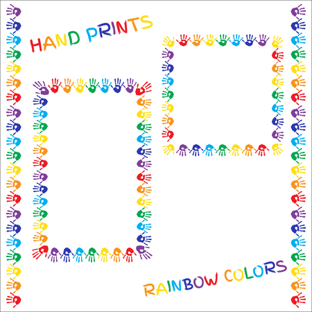 trans gender: Set of frames and borders. Hand prints in rainbow colors on white background.