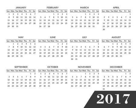 単純な 2017 年のカレンダー。2017 白い背景で隔離のため清潔でモダンでフラット スタイルのカレンダーです。1 週間は日曜日から始まります。