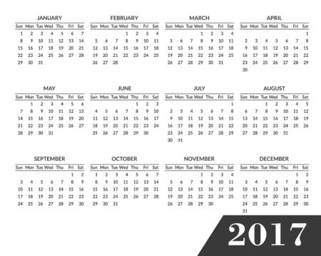 Simple 2017 year calendar. Clean, modern, flat style calendar for 2017 isolated on a white background. Week starts with Sunday.