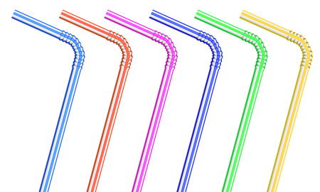 plastic straw: Detailed colorful drinking straws isolated on white background. Full size is under clipping mask.