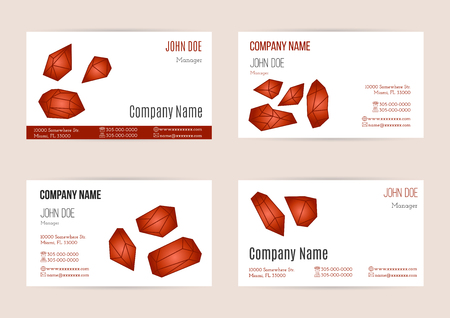 ruby stone: Collection of business card templates with geometric polygonal crystals, minerals. Flat style design elements isolated on white background. Trendy hipster ruby gem logotypes. Polygonal icons.