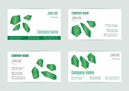 emerald stone: Collection of business card templates with geometric polygonal crystals, minerals.