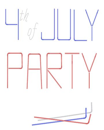 cocktail straw: Cocktail straw text for 4th of July, American Independence Day celebration on white background.