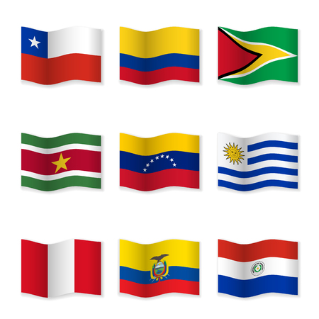 Waving flags of different countries. Flag icons on white background. 向量圖像
