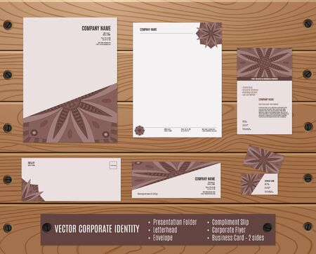Collection of corporate identities: presentation folder, letterhead, envelope, compliment slip, corporate, business card on wood texture. Brand, visualization, corporate business set. Identity Design Template.