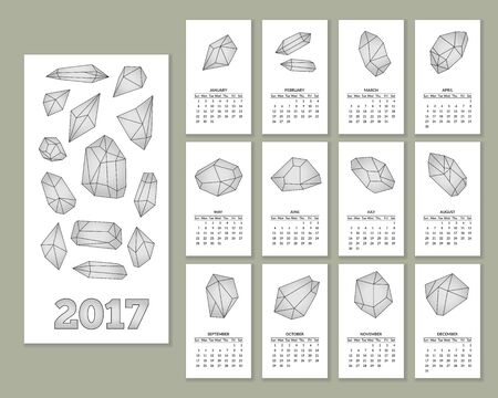 pyramidal: Monthly wall calendar for year 2017 with geometric polygonal crystals in flat style isolated on white background. Week starts with Sunday. 2017 calendar.