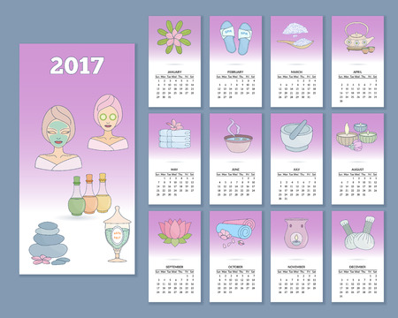 Monthly SPA wall calendar for year 2017. Week starts with Sunday. Colorful 2017 calendar with flat SPA icons. Ilustração