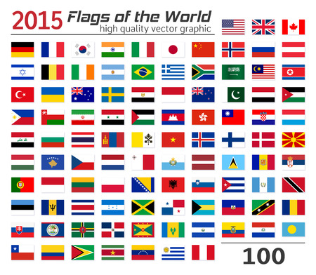 Collection of World flags on white background. Vettoriali