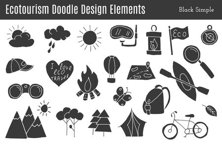 Set of ecotourism graphic design elements in black simple style isolated on a white background. Stock Illustratie