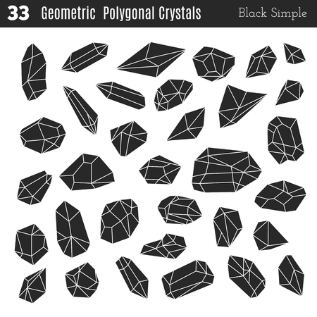 tetrahedron: Geometric polygonal crystals in black simple style isolated on white background. Illustration