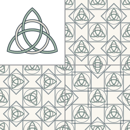 wiccan: Set of Celtic, triquetra seamless patterns and isolated close up Celtic trinity knot. Gaelic. Abstract stylish textile print with eastern geometric design.