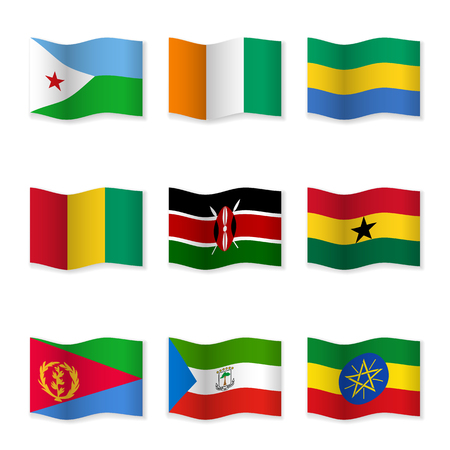 Waving flags of different countries. Flag icons on white background.  イラスト・ベクター素材