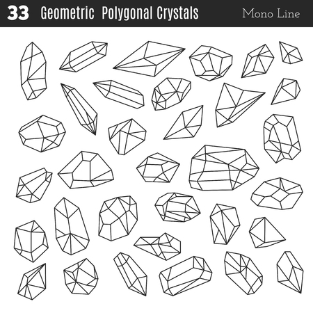 Geometric polygonal crystals in mono line style isolated on white background. Vettoriali