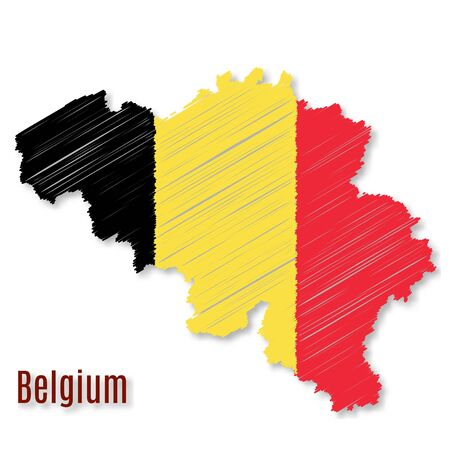 Belgian flag overlaid on detailed outline map with shadow isolated on white background.