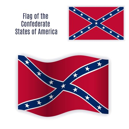 Flag of the Confederate States of America with correct color scheme, both still and waving.