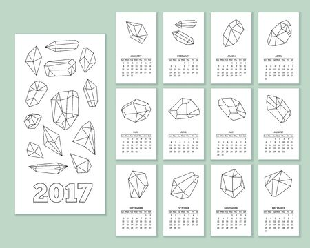 tetrahedron: Monthly wall calendar for year 2017 with geometric polygonal crystals in in mono line style isolated on white background. Illustration