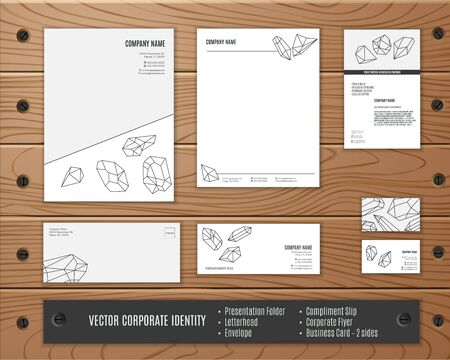 Corporate identity template, geometric polygonal crystals in mono line style. Corporate identity design. Illustration