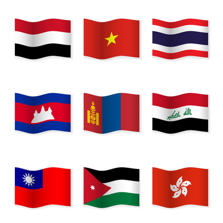different countries: Waving flags of different countries.