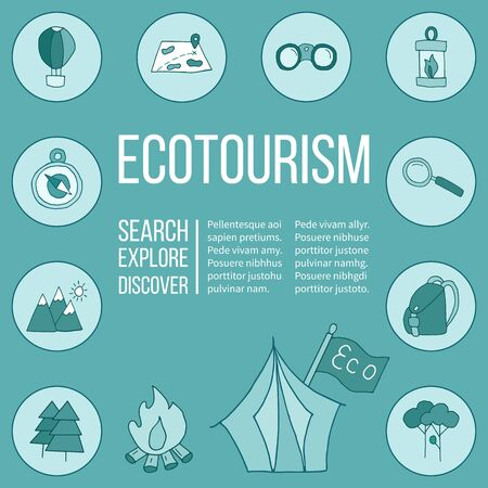 ecotourism: Ecotourism poster template with hand drawn doodle design elements. Mountains tent backpack binocular hot air balloon camping lantern magnifying glass tree bonfire map compass flag.