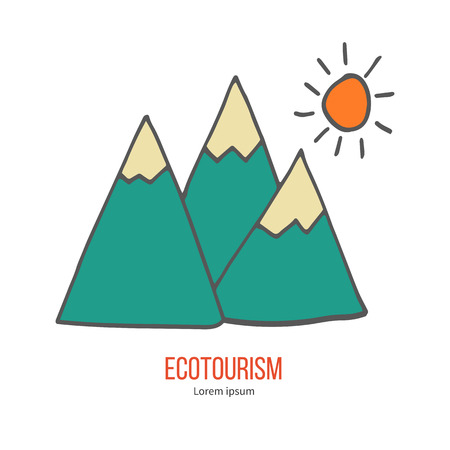 ecotourism: Mountains and sun. Ecotourism colorful flat design element isolated on a white background. Illustration
