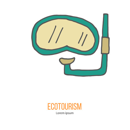 ecotourism: Diving mask with snorkel. Ecotourism colorful flat design element isolated on a white background. Illustration