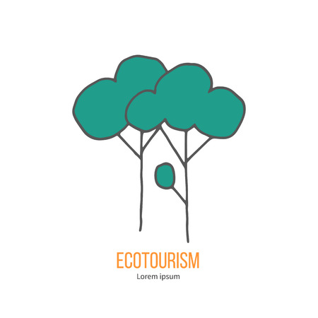 ecotourism: Deciduous trees. Ecotourism colorful flat design element isolated on a white background.