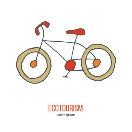 ecotourism: Bicycle. Ecotourism colorful flat design element isolated on a white background.