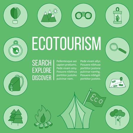 eco tourism: Ecotourism poster template with hand drawn doodle design elements. Mountains tent backpack binocular hot air balloon camping lantern magnifying glass tree bonfire map compass flag.