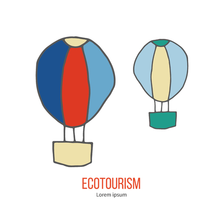 eco tourism: Air balloons. Ecotourism colorful flat design element isolated on a white background.