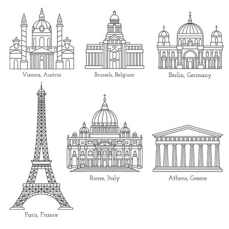 Set of world landmarks in mono line style isolated on a white background. European landmark line icons. World tourist attractions. Famous international landmarks.