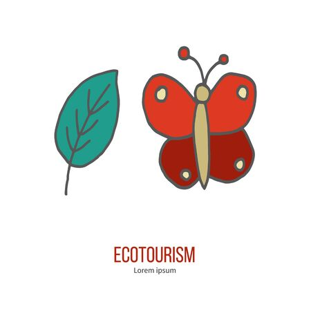 eco tourism: Butterfly and leaf. Ecotourism colorful flat design element isolated on a white background.
