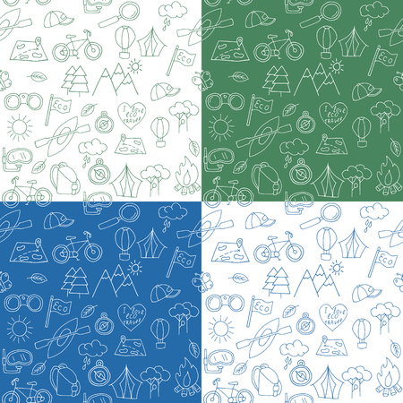 eco tourism: Seamless pattern of hand drawn doodle ecotourism design elements.