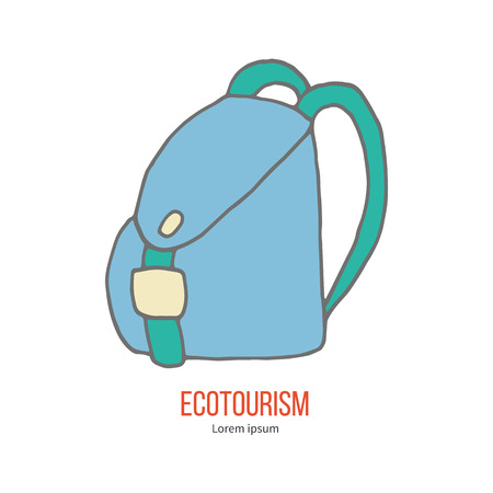 ecotourism: Travel Backpack. Ecotourism colorful flat design element isolated on a white background.
