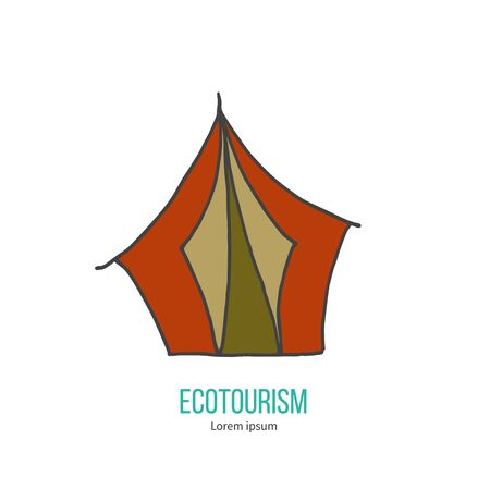 ecotourism: Ecotourism colorful flat design element isolated on a white background.