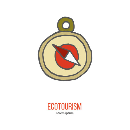 ecotourism: Compass. Ecotourism colorful flat design element isolated on a white background. Illustration